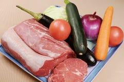 Frukt och meat arkivbilder