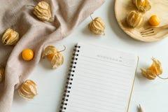 Frukt och notepad för uddekrusbär Arkivfoton