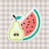 Frukt och rutig bordduk Arkivbild