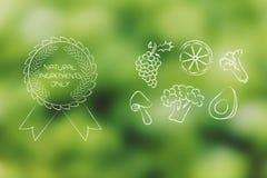 Frukt och veggies för organisk kemikalie fri med emblemet royaltyfri illustrationer