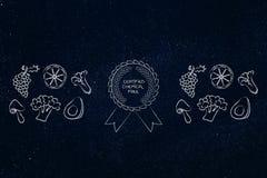 Frukt och veggies för organisk kemikalie fri med emblemet stock illustrationer