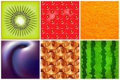 Frukt Olik ny frukt- och grönsakram Detaljerad vektorillustration med saftig frukt Abstrakt elegansmatbakgrund Arkivfoto