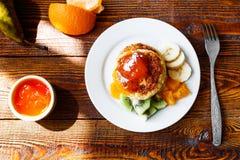 Frukt- ostpannkakor Royaltyfri Fotografi