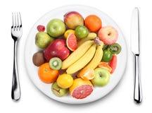 Frukt på en platta. Arkivbild