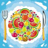 frukt- planet stock illustrationer