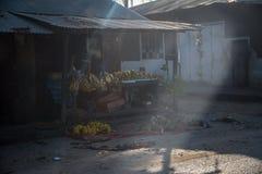 Fruktaffär i stenstad på Zanzibar tanzania royaltyfri bild