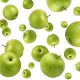 Fruktbakgrund med gröna äpplen Selektivt fokusera royaltyfri fotografi