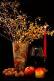 Fruktblandning, exponeringsglas av vin, röd stearinljus och vas av blommor på svart bakgrund Arkivfoto