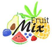 Fruktblandningklistermärke i vattenfärgstil Royaltyfri Fotografi