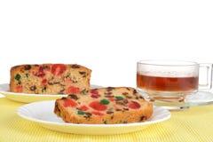 Fruktcake på en platta Fotografering för Bildbyråer