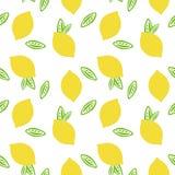Fruktcitronen med gräsplan lämnar citrus sommar på en vit backgroun vektor illustrationer