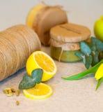 Fruktdriftstopp med citronen och äpplet Royaltyfri Foto
