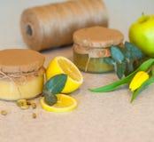 Fruktdriftstopp med citronen och äpplet Fotografering för Bildbyråer