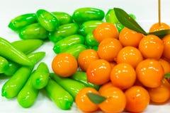 Fruktefterrätter Thailand som göras av sojabönor då täckt gelé arkivbild