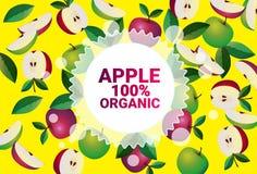 Frukter för färgrikt för cirkel för Apple frukt mönstrar bantar organiska over nya utrymme för kopia sund livsstil för bakgrund e royaltyfri illustrationer