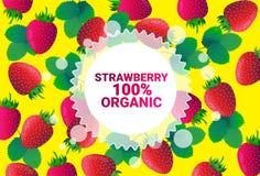 Frukter för färgrikt för cirkel för jordgubbefrukt mönstrar bantar organiska over nya utrymme för kopia sund livsstil för bakgrun royaltyfri illustrationer
