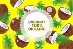 Frukter för färgrikt för cirkel för kokosnötfrukt mönstrar bantar organiska over nya utrymme för kopia sund livsstil för bakgrund royaltyfri illustrationer