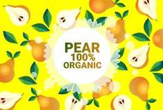Frukter för färgrikt för cirkel för päronfrukt mönstrar bantar organiska over nya utrymme för kopia sund livsstil för bakgrund el royaltyfri illustrationer