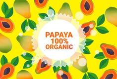 Frukter för färgrikt för cirkel för Papayafrukt mönstrar bantar organiska over nya utrymme för kopia sund livsstil för bakgrund e vektor illustrationer