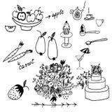 Frukter, grönsaker och annat handen dragit klotter ställde in Royaltyfri Foto