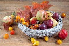 Frukter, grönsaker och höstsidor ligger på en trätabell och i en vide- platta Fotografering för Bildbyråer