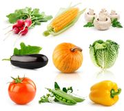 frukter isolerad set grönsakwhite Arkivfoto