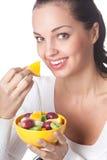 frukter isolerade kvinnan Arkivbild