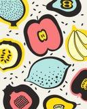 Frukter mönstrar med päronet, citronen, äpplen, granatäpplet och fikonträd Arkivfoton