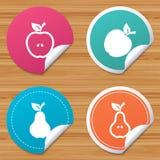 Frukter med bladsymboler Apple och pear vektor illustrationer