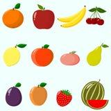 Frukter och bär som samlas i en uppsättning Royaltyfri Foto