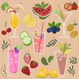 frukter och drinkar stock illustrationer
