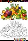 Frukter och grönsaker för färgläggningbok Royaltyfri Bild
