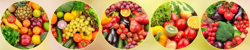 Frukter och grönsaker för panorama- foto nya i rund ram på bl arkivbild