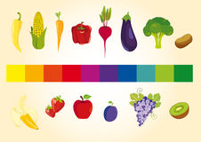 Frukter och grönsaker i färgspektret Royaltyfria Bilder