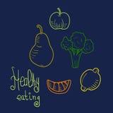 Frukter och grönsaker i klotterstil Arkivbilder