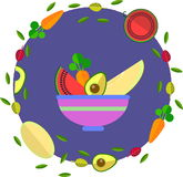 Frukter och grönsaker i plan stil Royaltyfri Bild