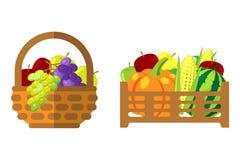 Frukter och grönsaker i vektorillustration för vide- korg stock illustrationer