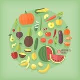 Frukter och grönsaker sänker symbolssamlingsuppsättningen Arkivbilder