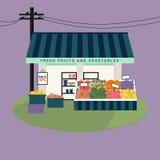 Frukter och grönsaker shoppar fasaden Fotografering för Bildbyråer