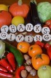 Frukter och grönsaker som dekoreras för tacksägelse Arkivbilder