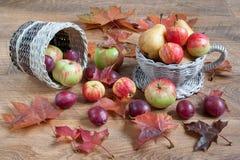 Frukter och höstsidor ligger på en trätabell och i vide- korgar Arkivfoton