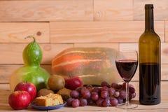 Frukter och Wine Arkivfoto