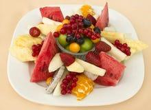 Frukter på en plätera Grön plommon, röd vinbär, blåbär, strawberr arkivfoton