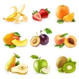 Frukter sänker symbolsuppsättningen stock illustrationer