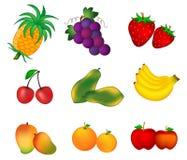 Frukter som isoleras på vit Royaltyfri Bild