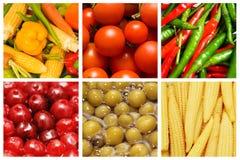 frukter ställde in olika grönsaker Fotografering för Bildbyråer