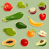 frukter ställde in vektorgrönsaker Royaltyfria Bilder
