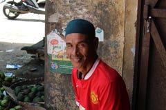 Frukterna runt om traditionell marknad i Indonesien kallade Arkivfoto