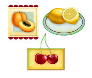 fruktetiketter Arkivfoto