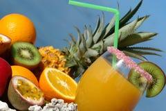 fruktexponeringsglasfruktsaft Fotografering för Bildbyråer